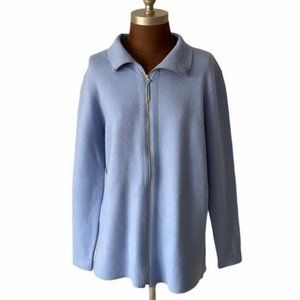 Soft Surroundings Blue Zippered Long Cardigan Sz L